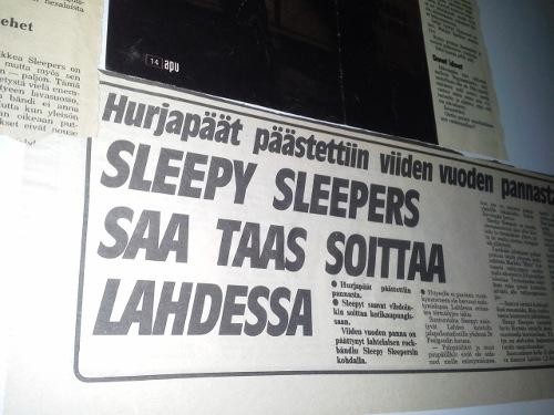 Sleepy Sleepers Lehtileikkeestä